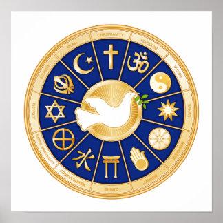 Dove of Peace Mandala Poster