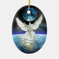 Dove Of Peace Over Planet Earth Sunrise Ceramic Ornament at Zazzle