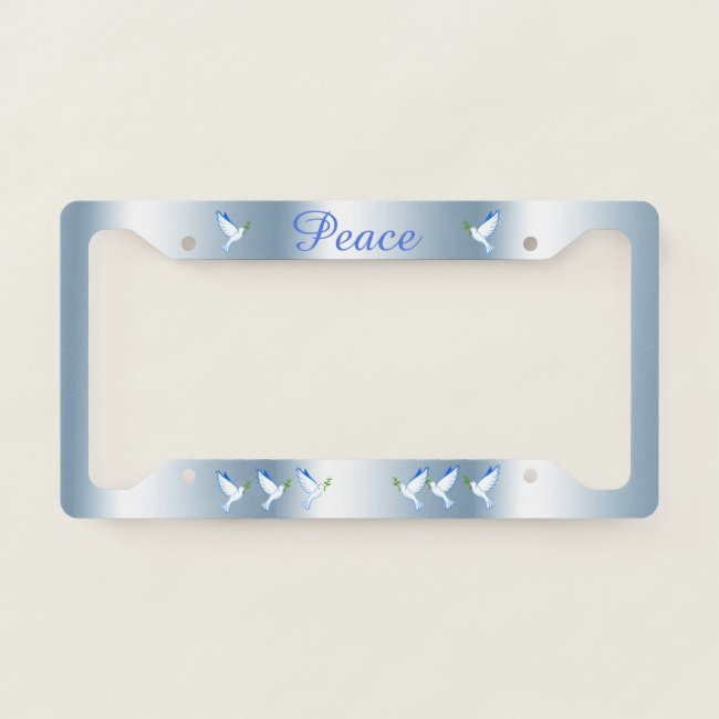 Dove of Peace Pattern Blue License Plate Frame