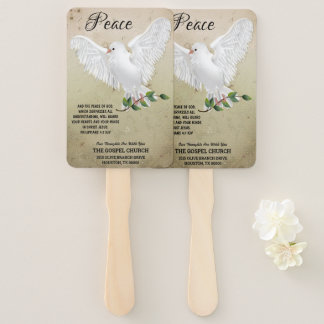 Dove of Peace Personalized Scripture Verse Church Hand Fan
