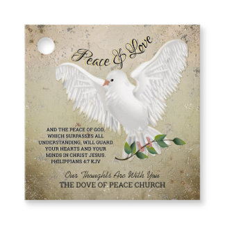 Dove of Peace Personalized Scripture Verse Favor Tags