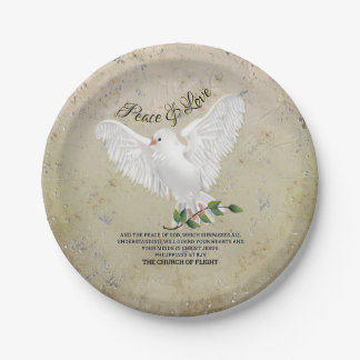 Dove of Peace Personalized Scripture Verse Paper Plate