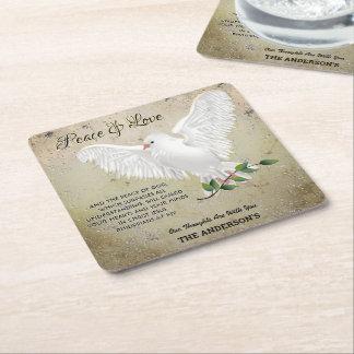 Dove of Peace Personalized Scripture Verse Square Paper Coaster