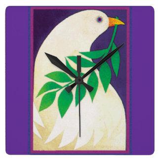 Dove of Peace Square Wallclock