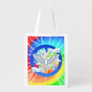 Dove Of Peace Tie Dye Reusable Grocery Bag