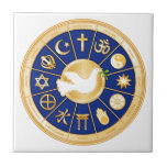 """Dove of Peace Tile<br><div class=""""desc"""">Gold icons of world faiths surround the Dove of Peace, an international symbol of harmony. The mandala highlights twelve religions that express the global diversity of spiritual beliefs: Baha'i, Buddhism, Christianity, Confucianism, Hindu, Islam, Jain, Judaism, Native Spirituality Medicine Wheel, Shinto, Sikh, Taoism. ***Note gold color is not metallic.*** See more...</div>"""