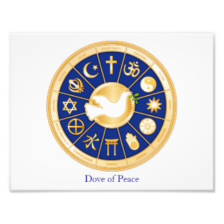 Dove of Peace, World Faith Mandala Photo Print