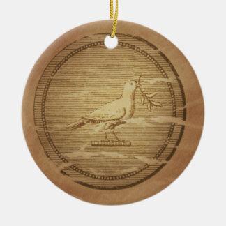 Dove & Olive Branch Rescue Greek Ceramic Ornament