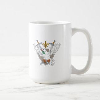 Dove Olive Leaf Sword Fleur De Lis Crest Drawing Coffee Mug