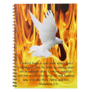 Dove on Fire Baptism Notebook