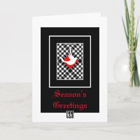 Dove on Plaid Christmas card