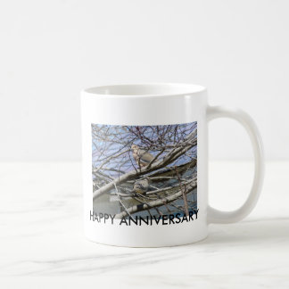 Dove Pair Among The Branches, HAPPY ANNIVERSARY Coffee Mug