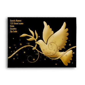 Dove peace black, red & gold Christmas template Envelopes