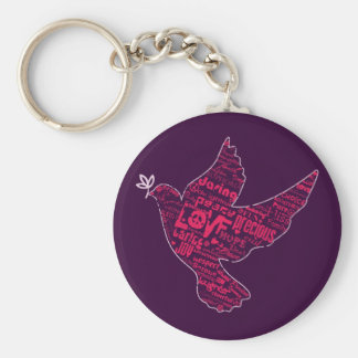 Dove Peace Collage Basic Round Button Keychain