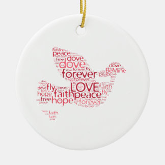 Dove Peace Love Valentines Day Word Cloud Ceramic Ornament