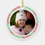 Dove peace on earth red green white custom photo ornament