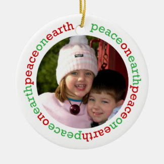 Dove peace on earth red green white custom photo Double-Sided ceramic round christmas ornament
