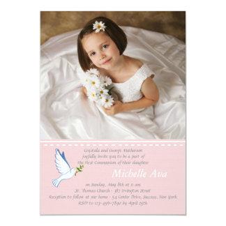 Dove Pink Religious Photo Invitation