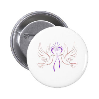 Dove Pink Ribbon 2 Inch Round Button