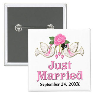 Dove & Rose - Just Married T-shirt Button