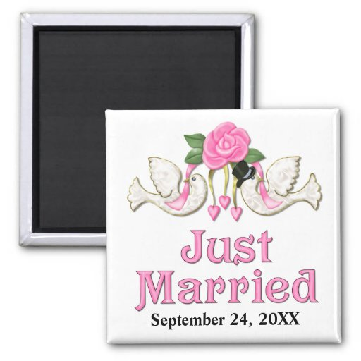 Dove & Rose - Just Married T-shirt 2 Inch Square Magnet