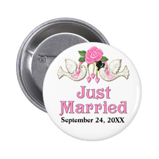 Dove & Rose - Just Married T-shirt Pinback Button
