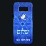 "Dove - Shalom Case-Mate Samsung Galaxy S8 Case<br><div class=""desc"">Features &quot;shalom&quot; (Hebrew &quot;peace&quot;) and a dove carrying a bit of olive branch in its beak on a nice blue and white fractal background featuring a Star of David and the suggestion of bird wings. Add your own text.</div>"