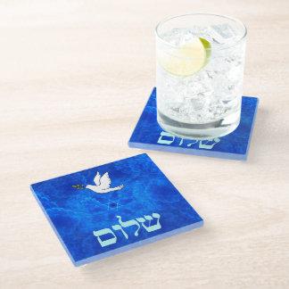 Dove - Shalom Glass Coaster