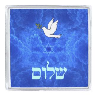 Dove - Shalom Silver Finish Lapel Pin