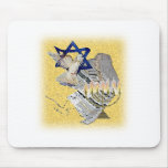 Dove Tallit Menorah with background Mouse Pad