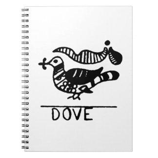 Dove vintage jagged animal design.png spiral notebook