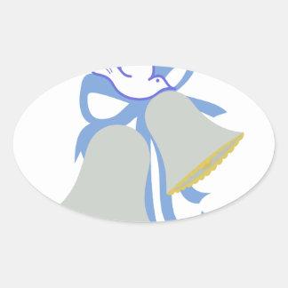 Dove Wedding Bells Oval Sticker