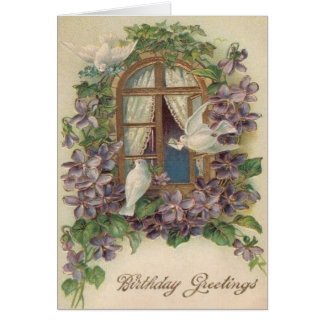 Dove Window Letter Forget-Me-Not Card