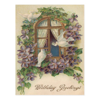 Dove Window Letter Forget-Me-Not Postcard