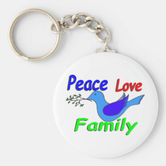 dove with branch PEACE LOVE FAMILY Basic Round Button Keychain