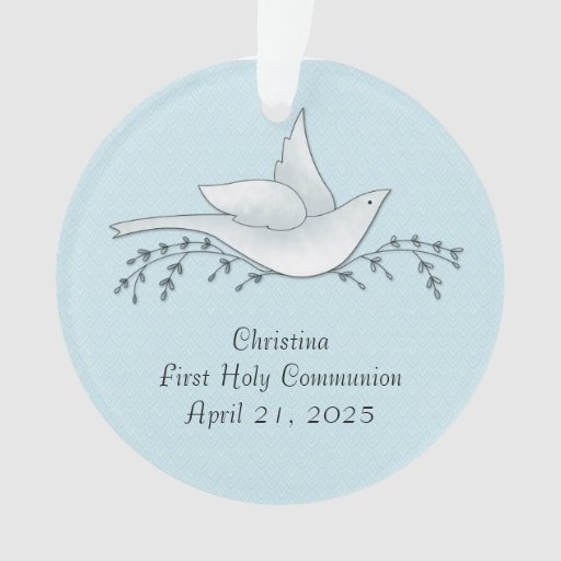 Dove with Branches, Blue, First Communion