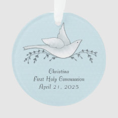 Dove With Branches, Blue, First Communion Ornament at Zazzle