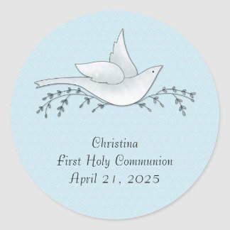 Dove with Branches, Blue, First Communion Classic Round Sticker