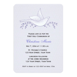 Dove with Branches, Lilac, First Communion Announcements