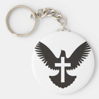 Dove with Cross Keychain