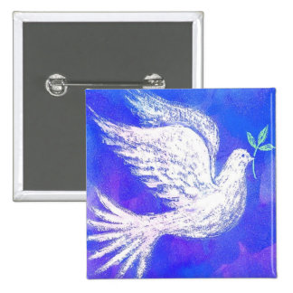 Dove with Olive Branch Button
