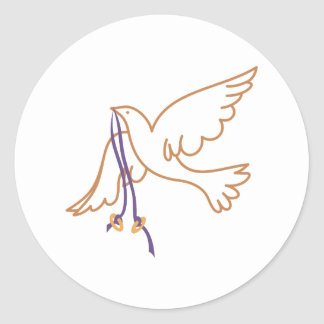 Dove with Rings Classic Round Sticker