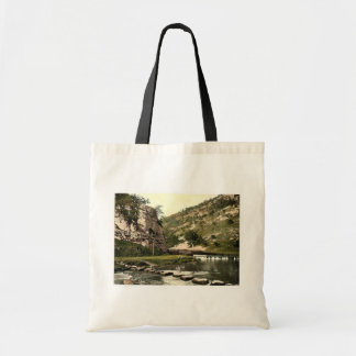 Dovedale, stepping stones, Derbyshire, England cla Tote Bag