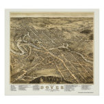 Dover, mapa panorámico del NH - 1877 Póster