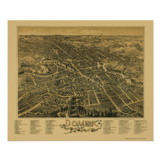 Dover, mapa panorámico del NH - 1888 Poster