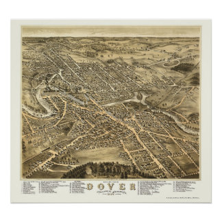 Dover NH Panoramic Map - 1877 Print