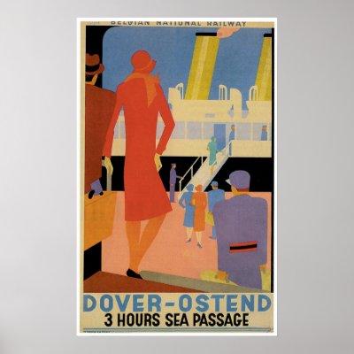 Dover - Ostend Vintage Ship Advertisement Print