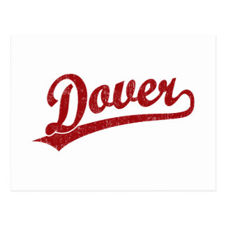 Dover script logo in red postcard