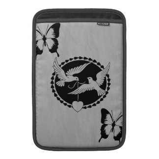 Doves and Butterflies on  Brushed Metal MacBook Air Sleeve