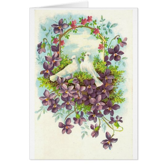 Doves and flowers card